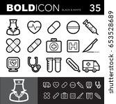 bold line icons  hospital set... | Shutterstock .eps vector #653528689