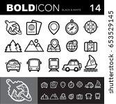 bold line icons  travel set... | Shutterstock .eps vector #653529145