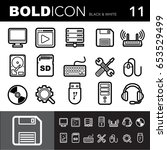 bold line icons  computer set... | Shutterstock .eps vector #653529499