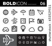 bold line icons  travel set... | Shutterstock .eps vector #653529511
