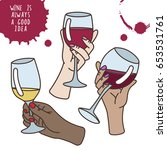 set of wine vector... | Shutterstock .eps vector #653531761