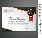 luxurious certificate design... | Shutterstock .eps vector #653532511