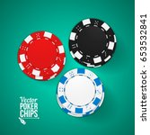 poker chips top view. red ... | Shutterstock .eps vector #653532841