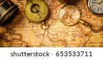 old vintage retro compass and... | Shutterstock . vector #653533711