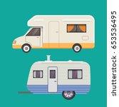 retro camper trailer collection.... | Shutterstock .eps vector #653536495
