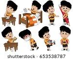 set of kid activity  kid... | Shutterstock .eps vector #653538787