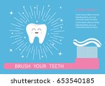 tooth icon. brush your teeth.... | Shutterstock .eps vector #653540185