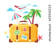 travel fashion stylish suitcase ... | Shutterstock .eps vector #653543215