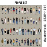 diversity people set gesture... | Shutterstock . vector #653544964