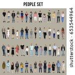 diversity people set gesture... | Shutterstock . vector #653544964