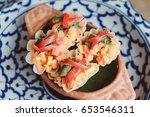 kratong thong  minced chicken... | Shutterstock . vector #653546311