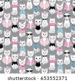Stock vector vector funny cat seamless pattern cute kitten hand drawn illustration stylish cartoon animals 653552371