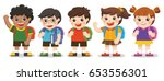 back to school cute kids go to... | Shutterstock .eps vector #653556301