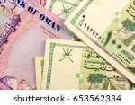 close up omani rial currency... | Shutterstock . vector #653562334