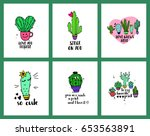 set of funny cards or posters... | Shutterstock .eps vector #653563891