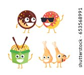 fast food characters   modern... | Shutterstock . vector #653568991