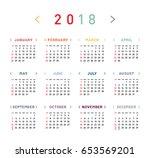 colorful calendar for 2018... | Shutterstock .eps vector #653569201