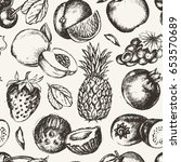 seamless pattern fruits  modern ... | Shutterstock . vector #653570689