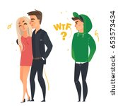 the girl went to another boy | Shutterstock .eps vector #653573434
