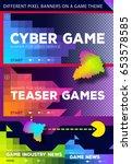 colorful cyber game banners for ... | Shutterstock .eps vector #653578585