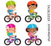 diverse group of boys and girls ... | Shutterstock .eps vector #653578741