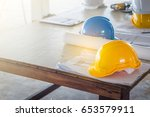the safety helmet and the... | Shutterstock . vector #653579911