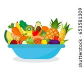 healthy and natural food. set... | Shutterstock .eps vector #653581309