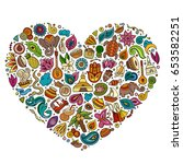 colorful vector hand drawn set... | Shutterstock .eps vector #653582251