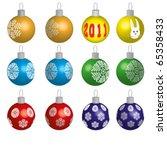 set of 12 christmas ornaments... | Shutterstock .eps vector #65358433