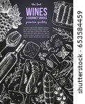 wines and gourmet snacks frame... | Shutterstock .eps vector #653584459