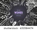 wines and gourmet snacks frame... | Shutterstock .eps vector #653584474