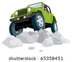 Off-Road: Off-road vehicle over a heap of stones. No transparency and gradients used.