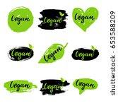 vegan eco set  hand drawn logos ... | Shutterstock .eps vector #653588209