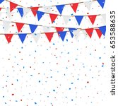 red blue white flag decorated...   Shutterstock .eps vector #653588635