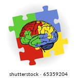 Stock vector brain in puzzle frame for web design 65359204
