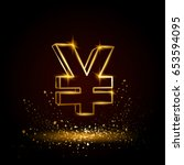 gold yuan symbol. currency...   Shutterstock .eps vector #653594095