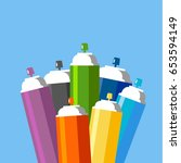 cans of spray paint set. flat...   Shutterstock .eps vector #653594149