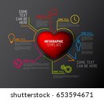 vector heart   love infographic ... | Shutterstock .eps vector #653594671
