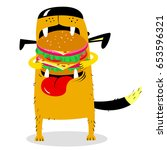 dog eating big hamburger.... | Shutterstock .eps vector #653596321