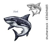 shark sketch vector fish icon.... | Shutterstock .eps vector #653604685