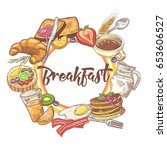 healthy breakfast hand drawn... | Shutterstock .eps vector #653606527