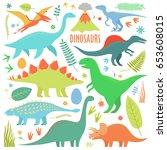 dinosaurs set. types of... | Shutterstock .eps vector #653608015