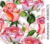wildflower rose flower pattern...   Shutterstock . vector #653608171