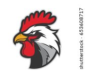 chicken rooster head mascot  | Shutterstock .eps vector #653608717