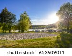 caravans and camping on the... | Shutterstock . vector #653609011