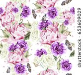 watercolor pattern with the... | Shutterstock . vector #653609029