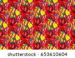 seamless floral pattern with... | Shutterstock . vector #653610604