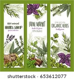 herb and spice natural organic...   Shutterstock .eps vector #653612077