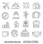 travel and tourism icon set | Shutterstock .eps vector #653612581