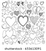 heart doodle icon vector set | Shutterstock .eps vector #653613091